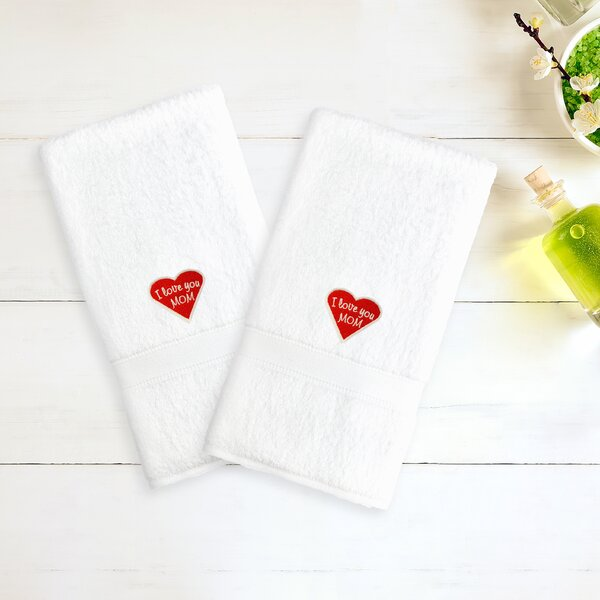 Mom & Dad 100% Cotton Hand Towel (Set of 2) by Linum Home Textiles